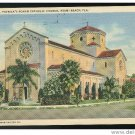 FL St Patrick's Roman Catholic Church Miami Beach Florida Linen Postcard 1942 Soldiers Free Mail