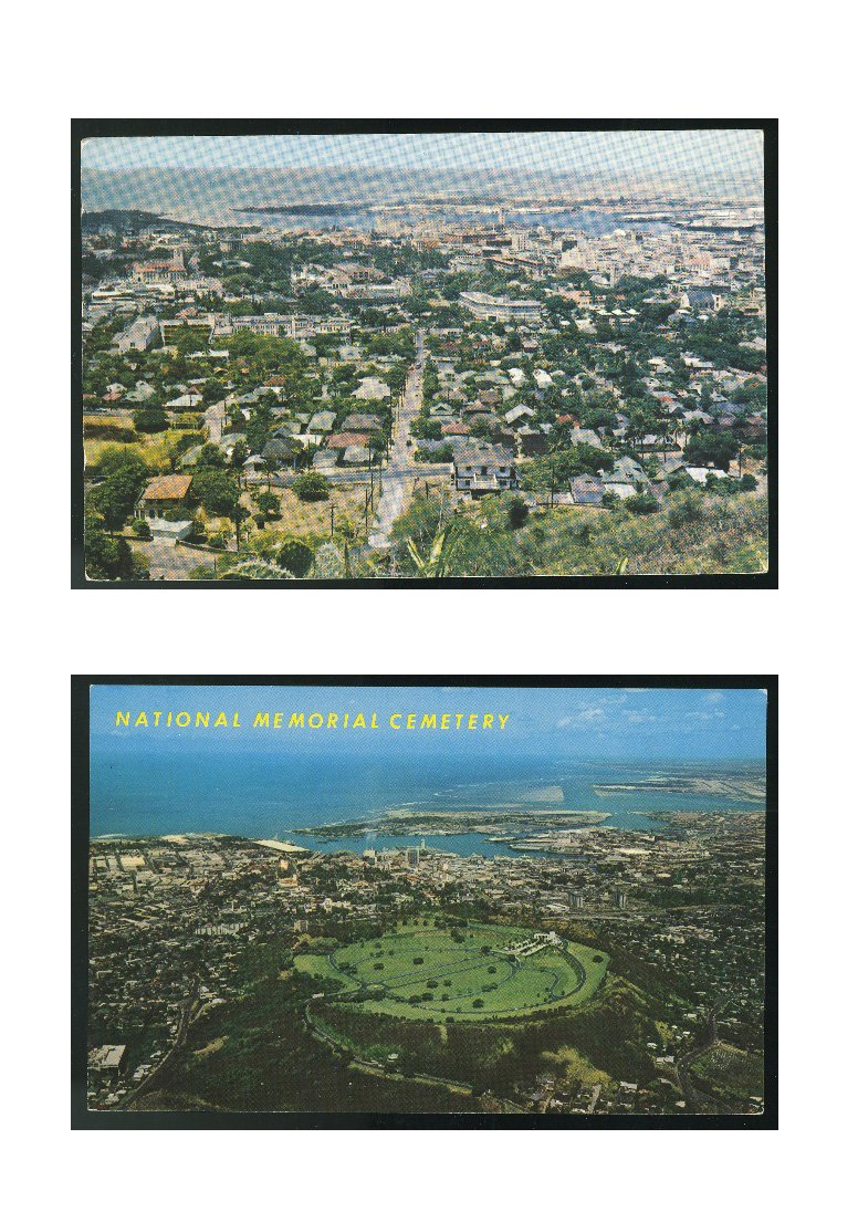 2 Aerial View Honolulu Hawaii as seen from Punchbowl National Memorial Cemetery Vintage Postcards