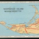 Nantucket Island Massachusetts MA Map Locations Mileages Vintage Linen Postcard
