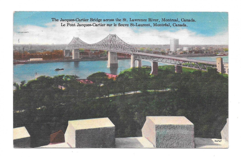 Canada Jacques Cartier Bridge St Lawrence River Vintage Linen Postcard