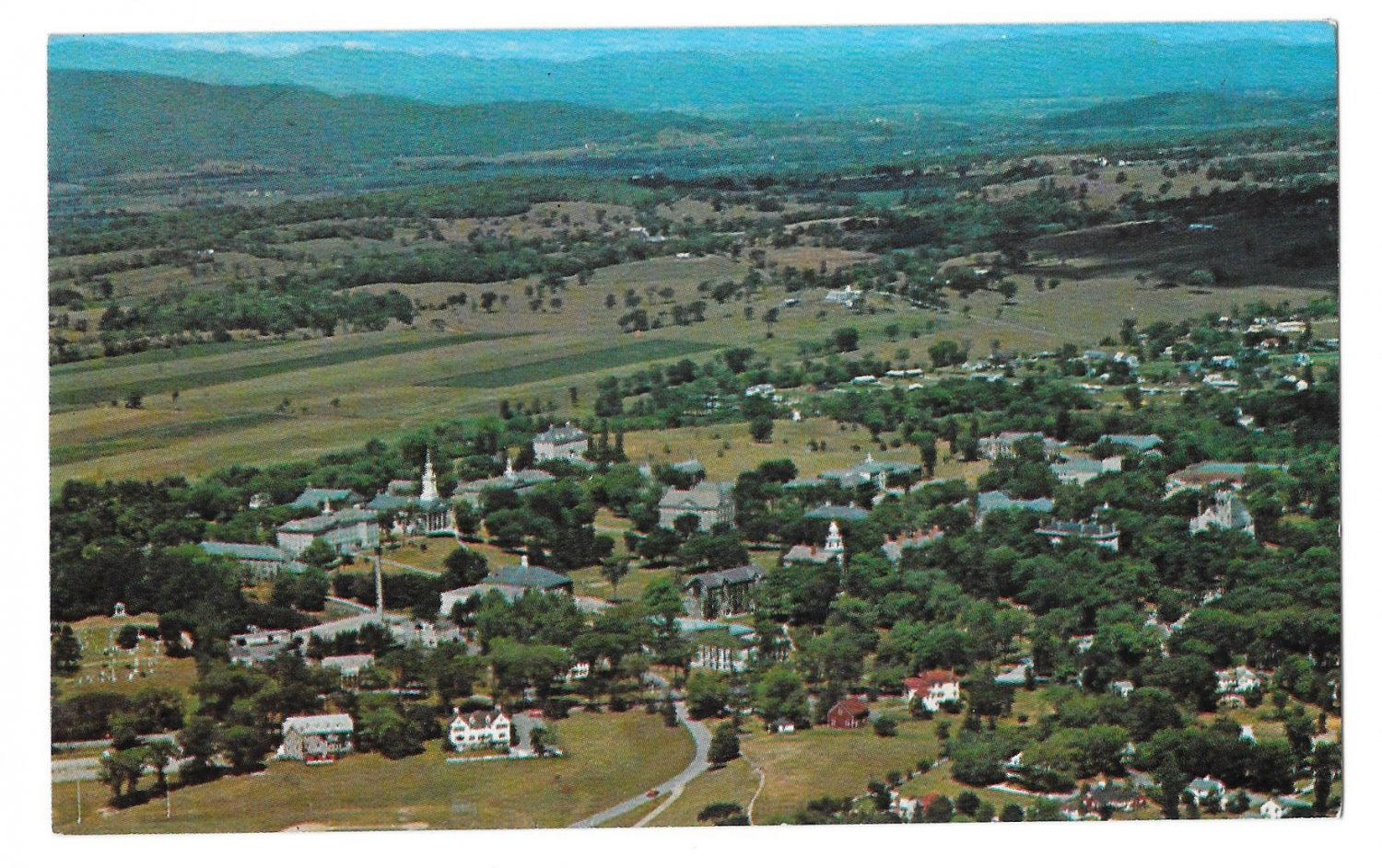 Middlebury Vermont Aerial View of Village College Vintage Forwards Postcard