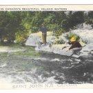 Fishing in Canada Inland Waters Saint John New Brunswick Vintage Postcard