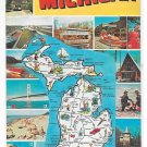 Greetings from Michigan 13 Pictorial Views Attractions Vintage Map Postcard