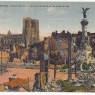 WWI Reims France Place d'Erlon after bombardment Fountain Cathedral Postcard