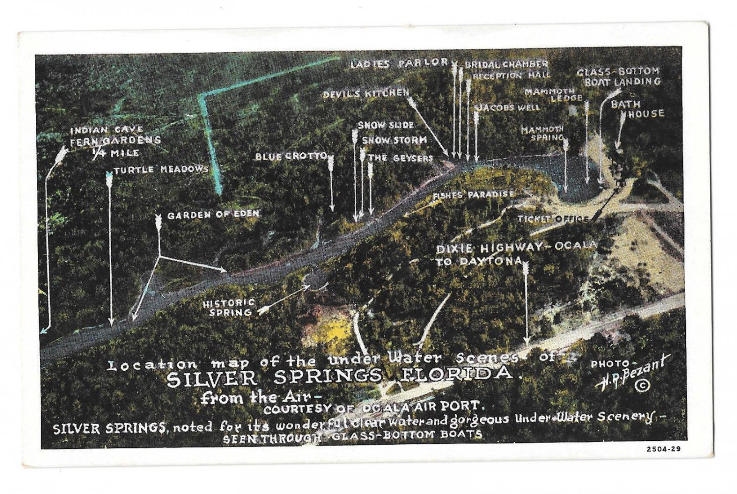 FLorida Silver Springs Aerial View Location Map of Under Water Scenes Vtg Postcard