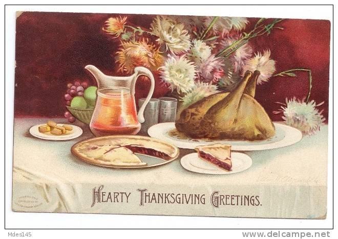 1907 Embossed Signed Clapsaddle Roast Turkey Feast Vintage IAP Thanksgiving Postcard