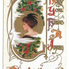 Christmas Pretty Edwardian Lady Holly Feathered Hat Vntg Embossed Gold Gilt Postcard