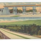 PA Turnpike Toll Gate Longest Stretch Carlisle Harrisburg dual biew Linen Postcard