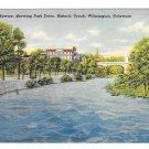 Wilmington DE Brandywine River Park Drive Vtg Linen Postcard Delaware Creek