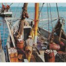 MA Cape Cod Fishing Boat Unloading Fish Vintage Postcard