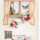 Romance Birds Blue Jays Roses in Window RVintage Embossed 1916 B B London Postcard