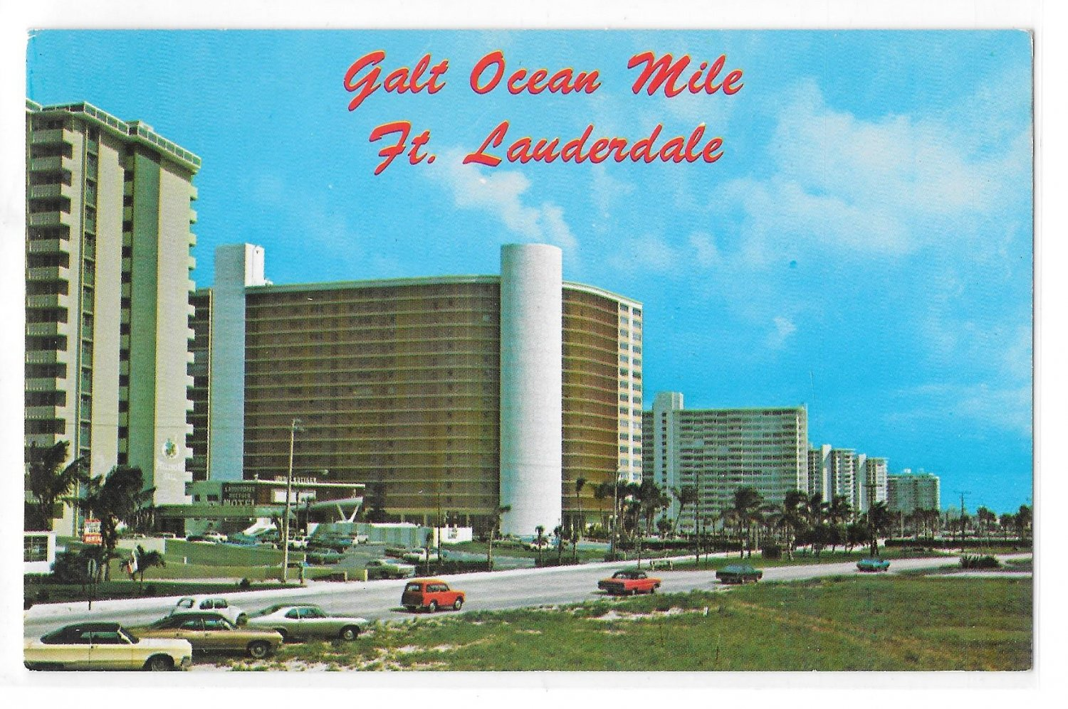 FFL Fort Lauderdale Galt Ocean Mile Panorama Oceanfront Luxury Hotels 1968 Postcard