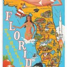 FL Florida Map Illustrated Cities Bathing Beauties Sunshine State Vntg Postcard