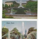 2 Philadelphia PA Water Fountains Swan Memorial Logan Circle Ericsson Art Museum Postcards