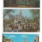3 Disneyland Disney World Postcards Haunted Mansion Sleeping Beauty Castle Main Street