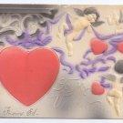 Valentine Postcard Cupid Hearts Cherubs Embossed Airbrushed Vintage Postcard