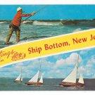 Greetings from Ship Bottom New Jersey Sailboats Surf Fishing Vintage Tichnor NJ Postcard