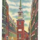 MA Boston Old North Church Salem Street Wintage Linen Postcard 1950s
