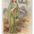 Christian Symbol Virtue of Hope Angel with Anchor Embossed Litho Religion Postcard