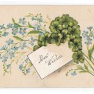Best Wishes Forget Me Nots Embossed Vintage Otto Schloss Greeting Postcard