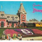 Disneyland Greetings Santa fe Train Depot Floral Mickey Mouse Vintage Park Postcard