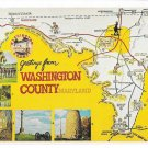 MD Greetings from Washington County Maryland Tour Routes Map Landmarks Vintage Postcard