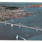 CA San Francisco Oakland Bay Bridge Aerial View Vntg Stenberg 50s California Postcard