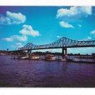 La Crosse WI Mississippi River Cruisers Anchored at Yacht Club Interstate Bridge Vintage Postcard