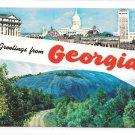 Greetings from Georgia dual View Capitol Atlanta Stone Mountain Vintage Postcard
