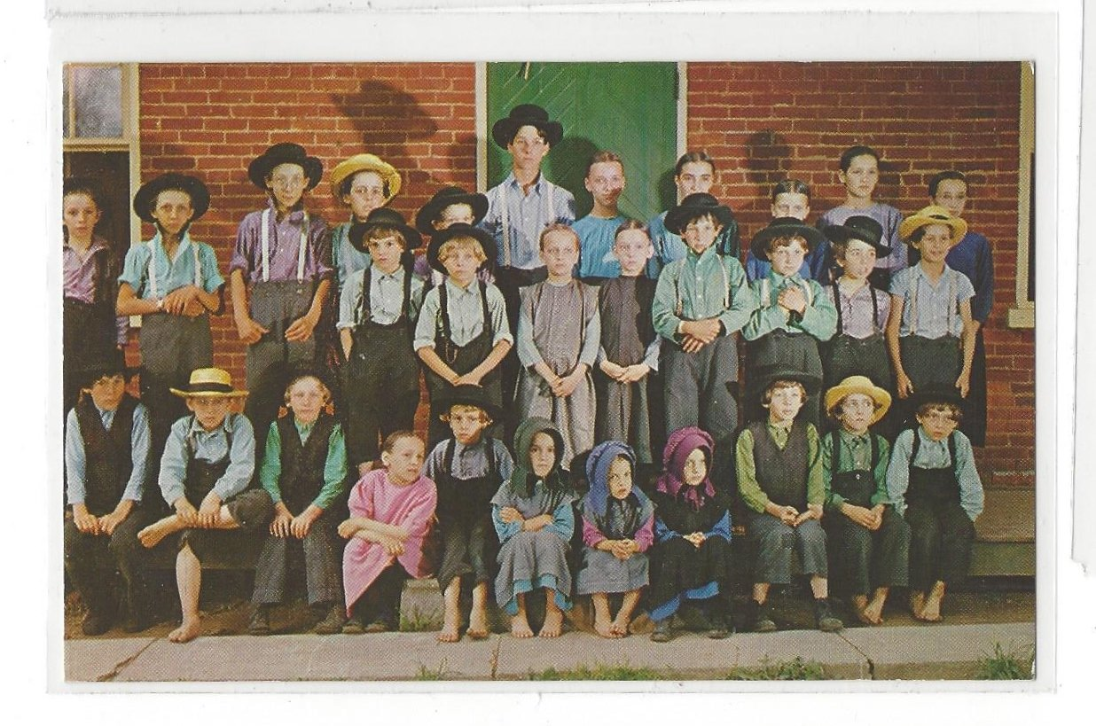 Penna Dutch Country Large Class of Amish School Children Lancaster PA Postcard