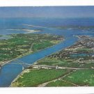 MA Aerial View Cape Cod Canal Buzzards Bay Bourne Bridge Vntg Massachusetts Postcard