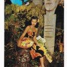 Hawaiian Beauty Woman Flower leis Tiki Totem Poles Vntg Postcard Billy Howell Photo