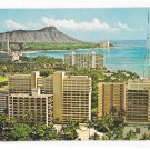 Hawaii Birdseye view Waikiki Diamond Head Honolulu Hotels Vintage Baskers Postcard