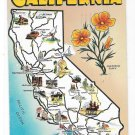Greetings from California Illustrated Cities Map Posted 1957 Vintage Postcard
