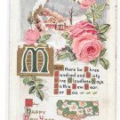 Happy New Year Wishes Greetings Embossed Roses Snow Cabin Gold Gilding Vintage Postcard