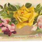 Greetings Good Health Good Luck Embossed Glossy Pink Roses Gold Bowl Vintage Postcard