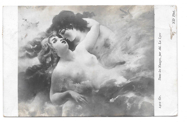 Dans Les Nuages Lovers In The Clouds Adolphe La Lyre Artist ND Photo Neurdein Postcard