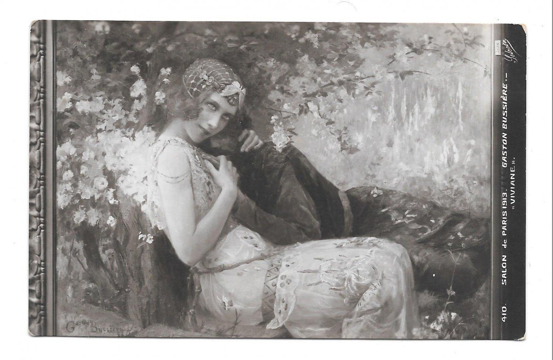 Viviane et Merlin Art Nouveau Gaston Boussiere Salon de Paris 1913 Selecta Postcard