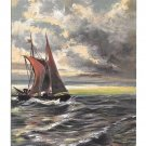 Seascape Artist Signed G. Fuhrmann Sailboat Grey Seas Red Sails ASM Postcard