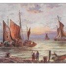 Nautical Painting Sailboats Sea Beach Fishing Boats Vintage German Postcard