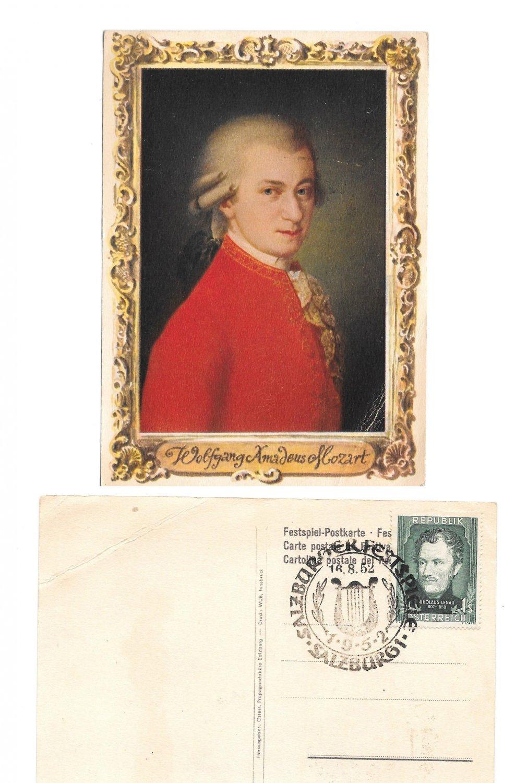 Mozart Artist Barbara Krafft Painting Austria 1952 Salzburg Festival Postcard