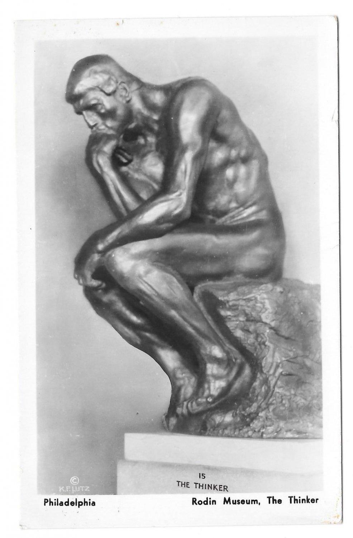 Sculpture The Thinker Rodin Museum Philadelphia PA K F Lutz 1935 Glossy Postcard