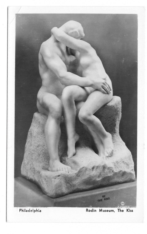 Sculpture The Kiss Rodin Museum Philadelphia PA K F Lutz 1935 Glossy Postcard