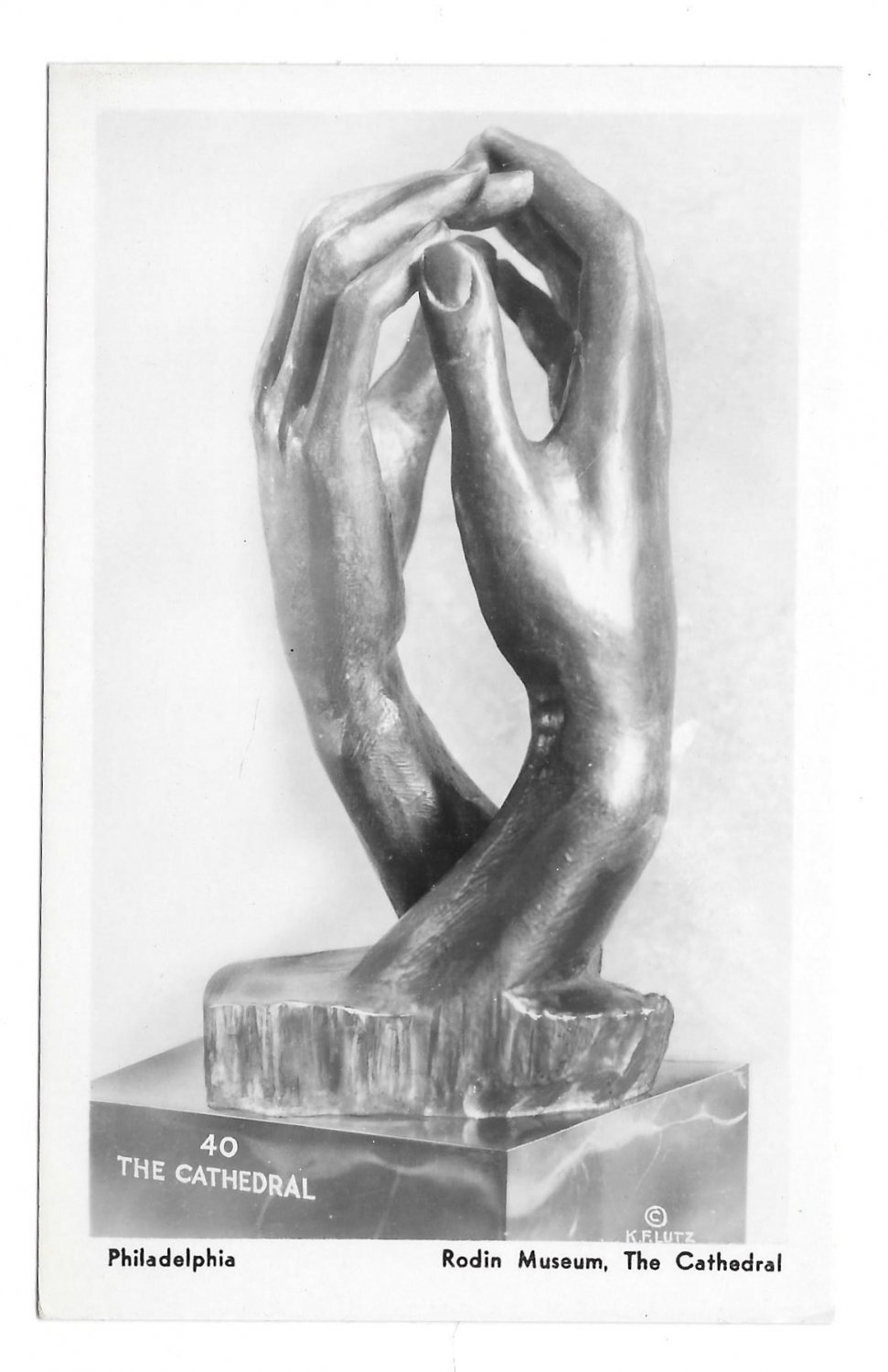 Sculpture The Cathedral Rodin Museum Philadelphia PA K F Lutz 1935 Glossy Postcard