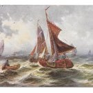 Nautical Painting Fishing Sail Boats Peter Luhn Fine Art Postcard Barmen Germany]