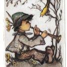 Berta Hummel Boy playing flute for birds Jossef Muller Munich 6erman Art Postcard 4X6