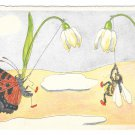 Stehli Fantasy Postcard Signed Tribi Anthropomorphic Bee Butterfly Climbing FlowersGlossy