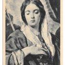Velazquez Coronation Virgin Mary Detail of Religious Painitng Sepia 4X6 Postcard