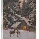 Paul Hey Weihnachten Christmas in Winter Cottage Deer Night Germany AS Postcard