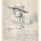 Rembrandt Portrait Drawing Saskia als Braut Bride Reichsdruckerei 4X6 Art Postcard